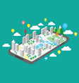 travel map on mobile phones gps navigation techno vector image