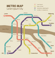 vintage colors subway map concept vector image vector image