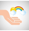weather concept forecast rainbow cloud and sun vector image