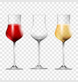 wine transparent glasses set realistic 3d style vector image
