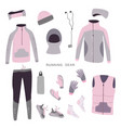 winter running gear set of womens winter clothes vector image