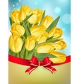 Yellow tulips with bow EPS 10 vector image
