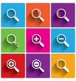 Zoom icons Search symbols Magnifier Glass vector image vector image