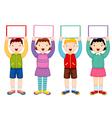 Kids holding white blank vector image