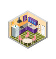 kitchen isometric with furniture vector image