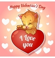 Cute red kitten with hearts for Valentines Day vector image