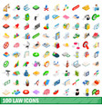 100 law icons set isometric 3d style vector image
