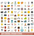 100 cinema award icons set flat style vector image vector image
