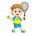 a boy playing lawn tennis vector image vector image