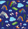 aqua park seamless pattern background on a blue vector image vector image