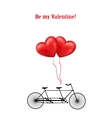 Bicycle and heart balloons background vector image vector image