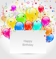 Birthday Invitation with Multicolored Balloons and vector image vector image