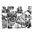black and white digital graphic of village vector image