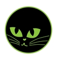 Black cat icon on the plate vector image vector image