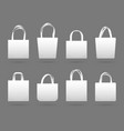 blank white canvas fabric shopping bag vector image vector image