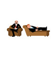 businessman with psychologist consultation of vector image vector image