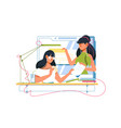 businesswoman hr registers new woman job candidate vector image vector image