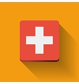 Button with flag of Switzerland vector image vector image