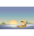 Canoe boy background vector image