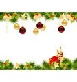 christmas pine frame 1409 vector image vector image