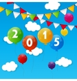 Color Glossy Balloons 2015 New Year Background vector image vector image