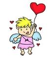 Cupid flying with love balloon cartoon vector image