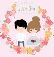 cute cartoon bride and groom in flower border vector image
