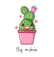 cute cartoon kawaii cactus with smile face in pot vector image vector image