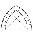 equilateral arch two vintage engraving vector image vector image