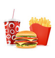 fast food icons hamburger drink french fries stock vector image vector image
