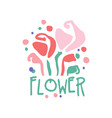 flower logo template badge for floral shop vector image vector image