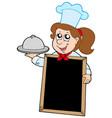 girl chef with blackboard vector image