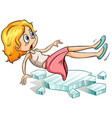 Girl slipping on cold ice vector image
