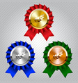 gold silver and bronze medals with laurel wreaths vector image