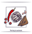 herring in marinade and with bread vector image vector image