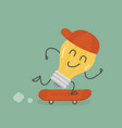 idea man on skateboard vector image vector image