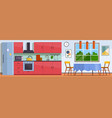 kitchen interior with furniture stove and vector image