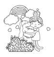 little girl with unicorn and rainbow kawaii vector image