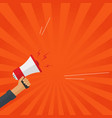 loudspeaker or megaphone in hand shouting vector image