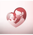 mother holding bawith masks in heart shaped vector image