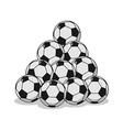 Pile of football Many soccer balls Sports vector image