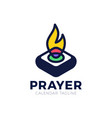 pray fire holy lamp logo concept logo church light vector image