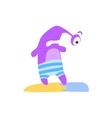 Purple One-eyed Monster On The Beach vector image vector image