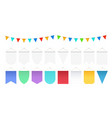 realistic hanging flags white pennant mockup vector image