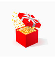red gift box with golden confetti open red box vector image vector image