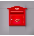 red mailbox hanging on wall logo postal horn vector image