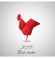 Red Rooster in Origami Style icon vector image vector image