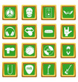 rock music icons set green vector image vector image