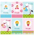 set of cards with baby girl and boy vector image vector image