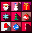 Set of Christmas long shadow flat icons vector image vector image